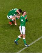 14 November 2017; Robbie Brady, left, and Aiden McGeady of Republic of Ireland react after conceding a third goal during the FIFA 2018 World Cup Qualifier Play-off 2nd leg match between Republic of Ireland and Denmark at Aviva Stadium in Dublin. Photo by Brendan Moran/Sportsfile