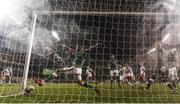 14 November 2017; Cyrus Christie of Republic of Ireland fails to keep out a shot by Andreas Christensen of Denmark during the FIFA 2018 World Cup Qualifier Play-off 2nd leg match between Republic of Ireland and Denmark at Aviva Stadium in Dublin.
