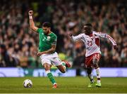 14 November 2017; Cyrus Christie of Republic of Ireland in action against Pione Sisto of Denmark during the FIFA 2018 World Cup Qualifier Play-off 2nd leg match between Republic of Ireland and Denmark at Aviva Stadium in Dublin. Photo by Seb Daly/Sportsfile