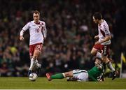 14 November 2017; Christian Eriksen of Denmark in action against Daryl Murphy of Republic of Ireland during the FIFA 2018 World Cup Qualifier Play-off 2nd leg match between Republic of Ireland and Denmark at Aviva Stadium in Dublin. Photo by Seb Daly/Sportsfile