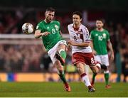 14 November 2017; Daryl Murphy of Republic of Ireland in action against Thomas Delaney of Denmark during the FIFA 2018 World Cup Qualifier Play-off 2nd leg match between Republic of Ireland and Denmark at Aviva Stadium in Dublin. Photo by Seb Daly/Sportsfile