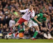 14 November 2017; Nicolai Jørgensen of Denmark in action against Shane Duffy of Republic of Ireland during the FIFA 2018 World Cup Qualifier Play-off 2nd leg match between Republic of Ireland and Denmark at Aviva Stadium in Dublin. Photo by Seb Daly/Sportsfile
