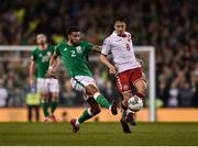 14 November 2017; Cyrus Christie of Republic of Ireland in action against Thomas Delaney of Denmark during the FIFA 2018 World Cup Qualifier Play-off 2nd leg match between Republic of Ireland and Denmark at Aviva Stadium in Dublin. Photo by Seb Daly/Sportsfile