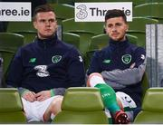 14 November 2017; Kevin Long, left, and Shane Long of Republic of Ireland during the FIFA 2018 World Cup Qualifier Play-off 2nd leg match between Republic of Ireland and Denmark at Aviva Stadium in Dublin. Photo by Stephen McCarthy/Sportsfile