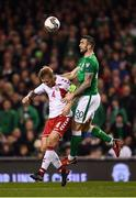 14 November 2017; Shane Duffy of Republic of Ireland in action against Simon Kjær of Denmark during the FIFA 2018 World Cup Qualifier Play-off 2nd leg match between Republic of Ireland and Denmark at Aviva Stadium in Dublin. Photo by Stephen McCarthy/Sportsfile