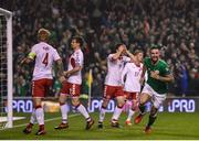 14 November 2017; Shane Duffy of Republic of Ireland turns to celebrate after scoring his side's goal during the FIFA 2018 World Cup Qualifier Play-off 2nd leg match between Republic of Ireland and Denmark at Aviva Stadium in Dublin. Photo by Stephen McCarthy/Sportsfile