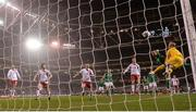 14 November 2017; Shane Duffy of Republic of Ireland heads his side's goal during the FIFA 2018 World Cup Qualifier Play-off 2nd leg match between Republic of Ireland and Denmark at Aviva Stadium in Dublin. Photo by Stephen McCarthy/Sportsfile