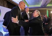 15 November 2017; IRFU President Philip Orr congratulates President of the Fédération Française de Rugby Bernard Laporte during the Rugby World Cup 2023 host union announcement at the Royal Garden Hotel, London, England. Photo by Dave Rogers / World Rugby via Sportsfile