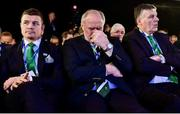 15 November 2017; Ireland 2023 bid ambassador Brian O'Driscoll, left, IRFU President Philip Orr, centre, and IRFU chief executive Philip Browne react during the Rugby World Cup 2023 host union announcement at the Royal Garden Hotel, London, England. Photo by Alex Broadway / World Rugby via Sportsfile