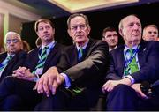 15 November 2017; Ireland 2023 Oversight Board chairman Dick Spring, and Minister for Transport, Tourism and Sport Shane Ross, T.D., right, react during the Rugby World Cup 2023 host union announcement at the Royal Garden Hotel, London, England. Photo by Alex Broadway / World Rugby via Sportsfile
