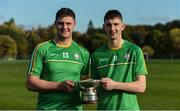 21 October 2017; Ireland players Ryan Mullaney, left, & Aaron Dunphy with the cup after the U21 Shinty International match between Ireland and Scotland at Bught Park in Inverness, Scotland. Photo by Piaras Ó Mídheach/Sportsfile