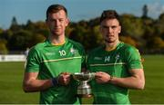 21 October 2017; Ireland players Kevin McDonald, left, and Chris Nolan with the cup after the U21 Shinty International match between Ireland and Scotland at Bught Park in Inverness, Scotland. Photo by Piaras Ó Mídheach/Sportsfile