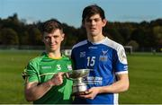 21 October 2017; Ireland players Darragh Cartin, left, & Ger Walsh with the cup after the U21 Shinty International match between Ireland and Scotland at Bught Park in Inverness, Scotland. Photo by Piaras Ó Mídheach/Sportsfile