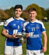 21 October 2017; Ireland players Conor Shaw, left, and Killian Doyle with the cup after the U21 Shinty International match between Ireland and Scotland at Bught Park in Inverness, Scotland. Photo by Piaras Ó Mídheach/Sportsfile