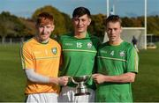 21 October 2017; Ireland players, from left, Stephen Murphy, Tomas O Connor and Shane Conway with the cup after the U21 Shinty International match between Ireland and Scotland at Bught Park in Inverness, Scotland. Photo by Piaras Ó Mídheach/Sportsfile