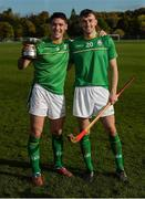 21 October 2017; Ireland players Sean Finn, left, and Sean Whelan with the cup after the U21 Shinty International match between Ireland and Scotland at Bught Park in Inverness, Scotland. Photo by Piaras Ó Mídheach/Sportsfile