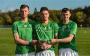 21 October 2017; Ireland players, from left, Kevin McDonald, Chris Nolan and Sean Whelan with the cup after the U21 Shinty International match between Ireland and Scotland at Bught Park in Inverness, Scotland. Photo by Piaras Ó Mídheach/Sportsfile