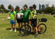 16 November 2017; Selector Padraic Joyce fellow selector Darragh O Sé and manager Joe Kernan with Eddie Wilson, from Belfast, a Senior Constable, Bicycle Patrol, Perth Police Station, Western Australia Police, during Ireland International Rules Squad training at Langley Park, Perth, Australia Photo by Ray McManus/Sportsfile