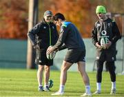 16 November 2017; Ireland head coach Joe Schmidt watches Joey Carbery and Jonathan Sexton during Ireland rugby squad training at Carton House in Maynooth, Kildare. Photo by Matt Browne/Sportsfile