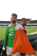 11 November 2017; Ireland team captain Aidan O'Shea, the Australian captain Shaun Burgoyne and the Cormac McAnallen Cup during the Australia v Ireland - Virgin Australia International Rules Series 2nd Test pre match photocall at the Domain Stadium, Subiaco Oval, Perth, Australia. Photo by Ray McManus/Sportsfile
