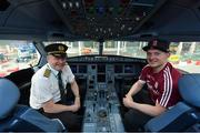 17 November 2017; Galway hurler Joe Canning with Aer Lingus captain Brian Rush in the cockpit as they departed Dublin Airport for Boston onboard Aer Lingus flight EI 137. Aer Lingus, official airline of the AIG Fenway Hurling Classic and Irish Festival, has been serving Boston since 1958 and is thrilled to once again be supporting this unique cultural and sporting event, bringing 130 hurlers to Boston's iconic Fenway Park. Games will be broadcast on TG4 on November 19th with Dublin v Galway in the first semi-final followed by Clare v Tipperary in the second semi-final. Photo by Brendan Moran/Sportsfile