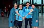 17 November 2017; Clare hurlers Padraic Collins and John Conlon, along with Aer Lingus Senior Cabin Crew members Lesley Murphy, left, and Grainne Frawley, departed Shannon Airport for Boston today onboard Aer Lingus flight EI135. Aer Lingus, official airline of the AIG Fenway Hurling Classic and Irish Festival, has been serving Boston since 1958 and is thrilled to once again be supporting this unique cultural and sporting event, bringing 130 hurlers to Boston's iconic Fenway Park. Games will be broadcast on TG4 on November 19th with Dublin v Galway in the first semi-final followed by Clare v Tipperary in the second semi-final. Photo by Diarmuid Greene/Sportsfile