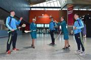 17 November 2017; Clare hurlers David McInerney, Peter Duggan, and David Reidy, along with Aer Lingus Senior Cabin Crew members Lesley Murphy, left, and Grainne Frawley, puck around before departing Shannon Airport for Boston today onboard Aer Lingus flight EI135. Aer Lingus, official airline of the AIG Fenway Hurling Classic and Irish Festival, has been serving Boston since 1958 and is thrilled to once again be supporting this unique cultural and sporting event, bringing 130 hurlers to Boston's iconic Fenway Park. Games will be broadcast on TG4 on November 19th with Dublin v Galway in the first semi-final followed by Clare v Tipperary in the second semi-final. Photo by Diarmuid Greene/Sportsfile
