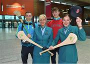 17 November 2017; Clare hurlers David McInerney and Peter Duggan, along with Aer Lingus Senior Cabin Crew members Lesley Murphy, left, and Grainne Frawley, departed Shannon Airport for Boston today onboard Aer Lingus flight EI135. Aer Lingus, official airline of the AIG Fenway Hurling Classic and Irish Festival, has been serving Boston since 1958 and is thrilled to once again be supporting this unique cultural and sporting event, bringing 130 hurlers to Boston's iconic Fenway Park. Games will be broadcast on TG4 on November 19th with Dublin v Galway in the first semi-final followed by Clare v Tipperary in the second semi-final. Photo by Diarmuid Greene/Sportsfile