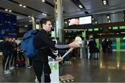 17 November 2017; Galway hurlers departed Dublin Airport for Boston today onboard Aer Lingus flight EI137. Aer Lingus, official airline of the AIG Fenway Hurling Classic and Irish Festival, has been serving Boston since 1958 and is thrilled to once again be supporting this unique cultural and sporting event, bringing 130 hurlers to Boston's iconic Fenway Park. Games will be broadcast on TG4 on November 19th with Dublin v Galway in the first semi-final followed by Clare v Tipperary in the second semi-final. Pictured is Galway hurler Gearoid McInerney. Photo by Ramsey Cardy/Sportsfile