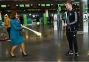 17 November 2017; Galway hurlers departed Dublin Airport for Boston today onboard Aer Lingus flight EI137. Aer Lingus, official airline of the AIG Fenway Hurling Classic and Irish Festival, has been serving Boston since 1958 and is thrilled to once again be supporting this unique cultural and sporting event, bringing 130 hurlers to Boston's iconic Fenway Park. Games will be broadcast on TG4 on November 19th with Dublin v Galway in the first semi-final followed by Clare v Tipperary in the second semi-final. Pictured is Aer Lingus cabin crew member Jackie Bailey with Galway's Joe Canning. Photo by Ramsey Cardy/Sportsfile