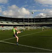 17 November 2017; Conor McManus practices a side line kick during Ireland International Rules Squad Captain's Run at Domain Stadium, Subiaco Oval in Perth, Australia. Photo by Ray McManus/Sportsfile