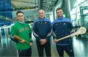 17 November 2017; Dublin hurlers departed Dublin Airport for Boston today onboard Aer Lingus flight EI 139. Aer Lingus, official airline of the AIG Fenway Hurling Classic and Irish Festival, has been serving Boston since 1958 and is thrilled to once again be supporting this unique cultural and sporting event, bringing 130 hurlers to Boston's iconic Fenway Park. Games will be broadcast on TG4 on November 19th with Dublin v Galway in the first semi-final followed by Clare v Tipperary in the second semi-final. Pictured are Dublin's Glenn Whelan, manager Pat Gilroy and Donal Gormley. Photo by Ramsey Cardy/Sportsfile