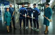 17 November 2017; Dublin hurlers departed Dublin Airport for Boston today onboard Aer Lingus flight EI 139. Aer Lingus, official airline of the AIG Fenway Hurling Classic and Irish Festival, has been serving Boston since 1958 and is thrilled to once again be supporting this unique cultural and sporting event, bringing 130 hurlers to Boston's iconic Fenway Park. Games will be broadcast on TG4 on November 19th with Dublin v Galway in the first semi-final followed by Clare v Tipperary in the second semi-final. Pictured are Dublin's Jonathan Treacy, James Madden and Stephen O'Connor with Aer Lingus cabin crew Darryl Sheridan, Alison Moran and Bernice Rocca. Photo by Ramsey Cardy/Sportsfile