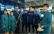 17 November 2017; Dublin hurlers departed Dublin Airport for Boston today onboard Aer Lingus flight EI 139. Aer Lingus, official airline of the AIG Fenway Hurling Classic and Irish Festival, has been serving Boston since 1958 and is thrilled to once again be supporting this unique cultural and sporting event, bringing 130 hurlers to Boston's iconic Fenway Park. Games will be broadcast on TG4 on November 19th with Dublin v Galway in the first semi-final followed by Clare v Tipperary in the second semi-final. Pictured are Dublin's Jonathan Treacy, James Madden and Stephen O'Connor with Aer Lingus cabin crew Darryl Sheridan, Cara Sisk, Alison Moran and Bernice Rocca. Photo by Ramsey Cardy/Sportsfile