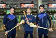 17 November 2017; The Tipperary hurlers departed Dublin Airport for Boston today onboard Aer Lingus flight EI 139. Aer Lingus, official airline of the AIG Fenway Hurling Classic and Irish Festival, has been serving Boston since 1958 and is thrilled to once again be supporting this unique cultural and sporting event, bringing 130 hurlers to Boston's iconic Fenway Park. Games will be broadcast on TG4 on November 19th with Dublin v Galway in the first semi-final followed by Clare v Tipperary in the second semi-final. Pictured are Tipperary's Mikey Breen, Noel McGrath and Seamus Callanan. Photo by Ramsey Cardy/Sportsfile
