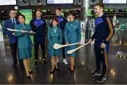 17 November 2017; The Tipperary hurlers departed Dublin Airport for Boston today onboard Aer Lingus flight EI 139. Aer Lingus, official airline of the AIG Fenway Hurling Classic and Irish Festival, has been serving Boston since 1958 and is thrilled to once again be supporting this unique cultural and sporting event, bringing 130 hurlers to Boston's iconic Fenway Park. Games will be broadcast on TG4 on November 19th with Dublin v Galway in the first semi-final followed by Clare v Tipperary in the second semi-final. Pictured are Tipperary's Mikey Breen, Noel McGrath and Seamus Callanan with Aer Lingus cabin crew Darryl Sheridan, Cara Sisk, Alison Moran and Bernice Rocca Photo by Ramsey Cardy/Sportsfile