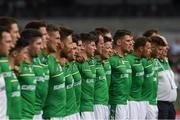 18 November 2017; Darren Hughes and his Ireland teammates stand for the anthem during the Virgin Australia International Rules Series 2nd test at the Domain Stadium in Perth, Australia. Photo by Ray McManus/Sportsfile