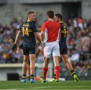 18 November 2017; Joel Selwood, 14, of Australia reacts after been shown a black card by Referee Matt Stevic during the Virgin Australia International Rules Series 2nd test at the Domain Stadium in Perth, Australia. Photo by Ray McManus/Sportsfile
