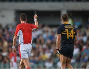 18 November 2017; Joel Selwood of Australia is shown a black card by Referee Matt Stevic during the Virgin Australia International Rules Series 2nd test at the Domain Stadium in Perth, Australia. Photo by Ray McManus/Sportsfile