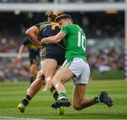18 November 2017; Nat Fyfe of Australia is tackled by Niall Grimley of Ireland during the Virgin Australia International Rules Series 2nd test at the Domain Stadium in Perth, Australia. Photo by Ray McManus/Sportsfile