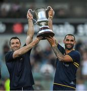 18 November 2017; Australian manager Chris Scott, left, and captain Shaun Burgoyne lift Cormac McAnallen Cup  after the Virgin Australia International Rules Series 2nd test at the Domain Stadium in Perth, Australia. Photo by Ray McManus/Sportsfile