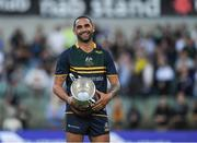 18 November 2017; Australian captain Shaun Burgoyne with Cormac McAnallen Cup after the Virgin Australia International Rules Series 2nd test at the Domain Stadium in Perth, Australia. Photo by Ray McManus/Sportsfile