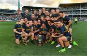 18 November 2017; The Australian team with the Cormac McAnallen Cup after the Virgin Australia International Rules Series 2nd test at the Domain Stadium in Perth, Australia. Photo by Ray McManus/Sportsfile