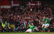14 November 2017; Shane Duffy of Republic of Ireland celebrates after scoring his side's first goal during the FIFA 2018 World Cup Qualifier Play-off 2nd leg match between Republic of Ireland and Denmark at Aviva Stadium in Dublin. Photo by Ramsey Cardy/Sportsfile