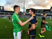 18 November 2017; Enda Smith of Ireland with Kade Simpson of Australia after the Virgin Australia International Rules Series 2nd test at the Domain Stadium in Perth, Australia. Photo by Ray McManus/Sportsfile