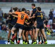 18 November 2017; Members of the Australian team celebrate on the final whistle of the Virgin Australia International Rules Series 2nd test at the Domain Stadium in Perth, Australia. Photo by Ray McManus/Sportsfile