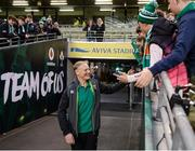18 November 2017; Ireland head coach Joe Schmidt is greeted by supporters prior to the Guinness Series International match between Ireland and Fiji at the Aviva Stadium in Dublin. Photo by Seb Daly/Sportsfile