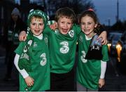 18 November 2017; Ireland supporters John Slattery, left, age 5, Joseph Keating, age 7, and Sophia Slattery, age 7, all from Carlow, prior to the Guinness Series International match between Ireland and Fiji at the Aviva Stadium in Dublin. Photo by Eóin Noonan/Sportsfile
