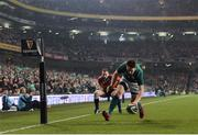 18 November 2017; Darren Sweetnam of Ireland goes over to score his side's first try during the Guinness Series International match between Ireland and Fiji at the Aviva Stadium in Dublin. Photo by Eóin Noonan/Sportsfile
