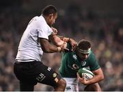 18 November 2017; Rob Herring of Ireland is tackled by Leone Nakarawa of Fiji during the Guinness Series International match between Ireland and Fiji at the Aviva Stadium in Dublin. Photo by Seb Daly/Sportsfile